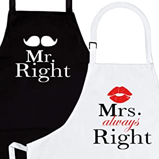 Mr. Right and Mrs. Always Right 2-Piece Kitchen Apron Set - Matching Engagement Wedding Anniversary Bridal Shower Gift For Bride