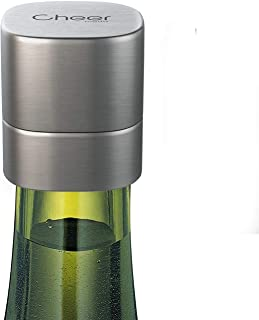 Champagne Stopper, Stainless Steel Wine & Champagne Sealer, Resealable Leak-Proof Cap For Prosecco, Sparkling & Still Wine- Best Accessory, Home and Party Use 7717-W401-02