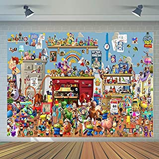 Toy Story Family Theme Photo Backdrops Cartoon Movie It's A Boy Story Theme Photography Background Kids Birthday Party Decoration Baby Shower Banner Studio Props Vinyl 7x5ft