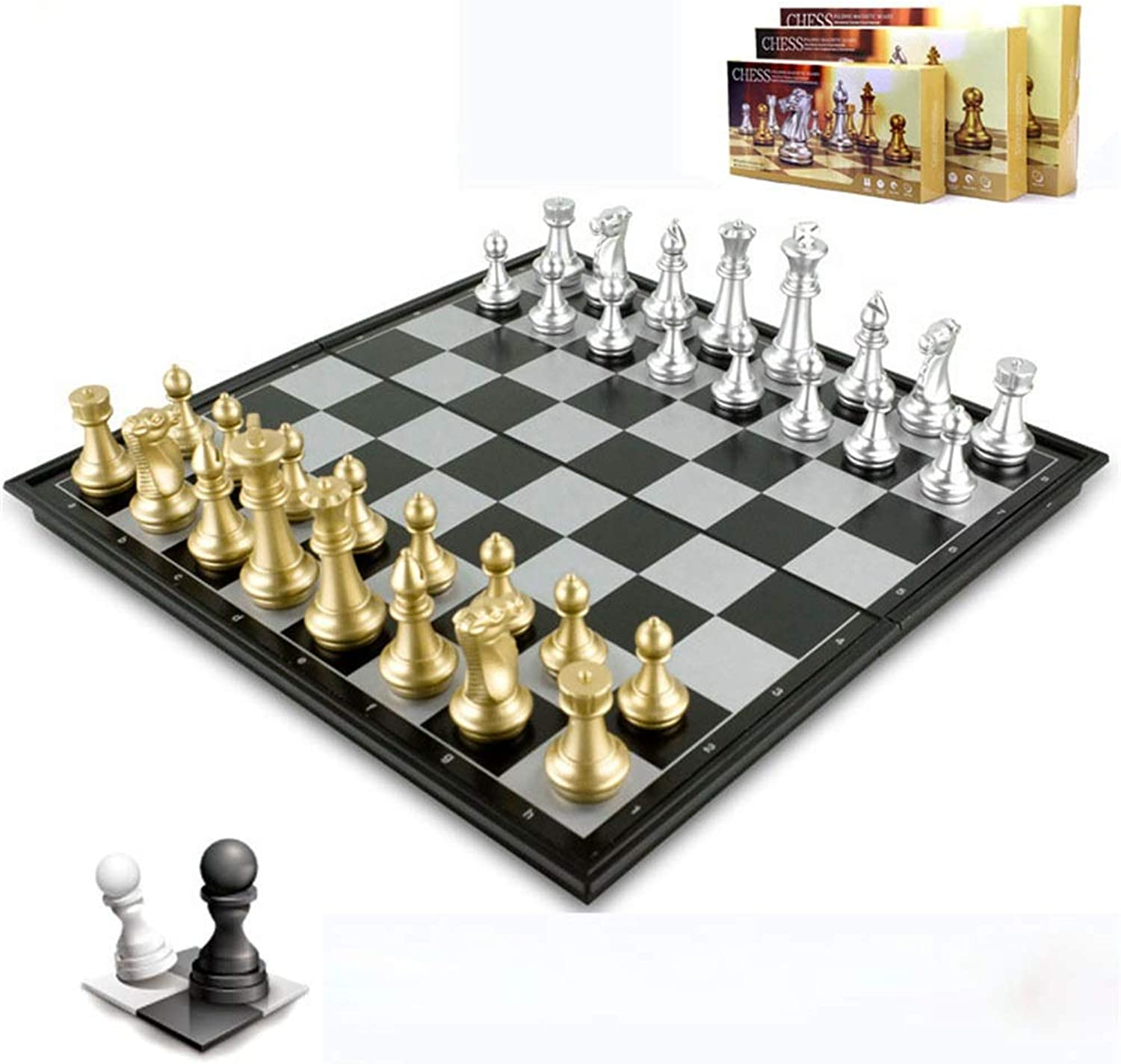 International Chess Set Board Game Magnetic Chess Checkers Set Portable golden Silver Folding Chess Board Game Perfect Educational Learning Toys For Chess Club Travel Sized Storage Bags For Kids And A