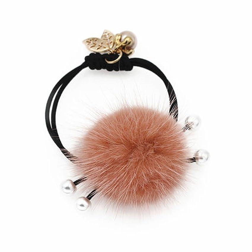 セイはさておきほめるアヒル冬のラブリーふわふわのボールヘア結束ヘアバンドラバーヘアアクセサリー - ピンク
