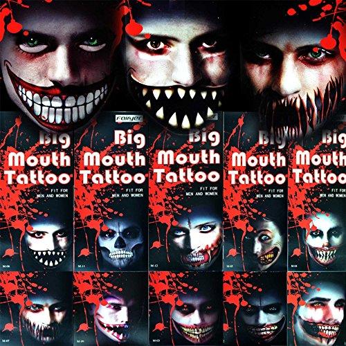 Shatchi Temporäres Tattoo-Tattoo, Halloween-Kostüm, Zombies, gruselig, Kostüm, Theater, Drama, Make-up, Partytüten, Scherzartikel, mehrfarbig, 4 Stück