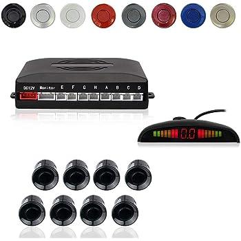 Car Reverse Parking Radar System with 8 Parking Sensors Distance Detection + LED Distance Display + Sound Warning (Black Color)