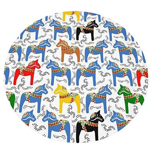 XIUZHEN Comfort Throw Blanket, Rot Blau Gelb Pferd Runde Weiche Decke für Erwachsene und Kinder