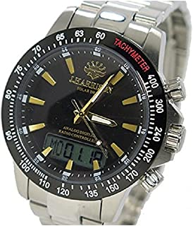 ジョンハリソン ソーラー 電波時計 メンズ 腕時計 JH-094GB ガンメタ/ゴールド