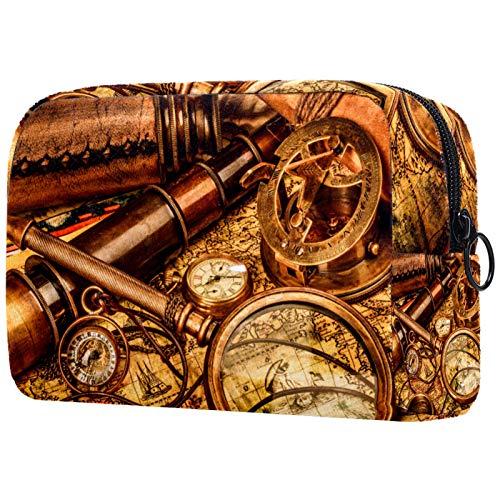Bolsa de maquillaje personalizable, portátil, para mujer, bolso de mano, organizador de viaje, lupa vintage