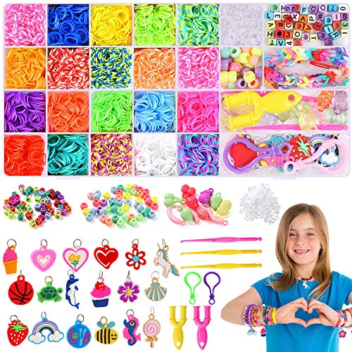 Lorfancy Rainbow Rubber Bands Bracelets Making Kit Girls Colorful DIY Crafts Beads Charms Pendants Hooks Clips Sets