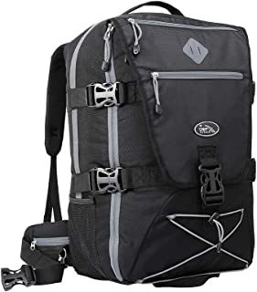 Cabin Max® Equator 44L Womens/Mens Backpacks - Perfect Hiking Backpack - Cabin Luggage 54x36x23cm fits Qantas and Air New Zealand - Laptop Slot and Integrated rain Cover! (Black/Grey)