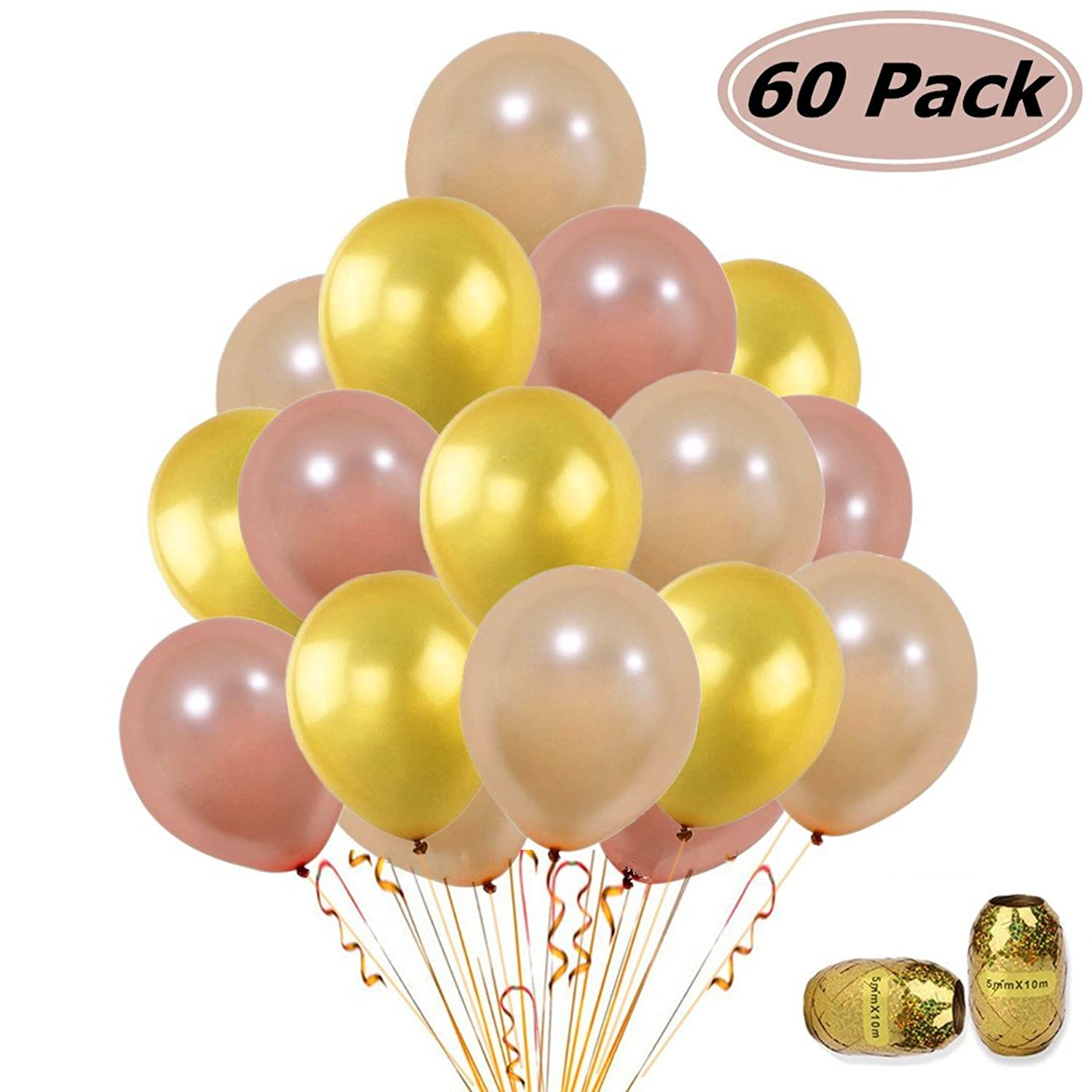 60Pcs Gold & Rose Gold & Champagne Gold Color Latex Party Balloons for Wedding Hawaii Graduation Birthday Party Decoration Supplies Bonus Ribbon (Radom Color)