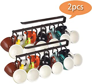 JDSUMS Mug Hooks Under Cabinet Hanging Holder for Mugs,Multi-Function Coffee Cups and Kitchen Utensils Display,Armoire and Any Thickness of 0.8 inch or Less Shelves,Suspension Traceless Nail-Free
