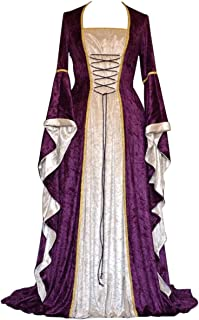 Effeltch Womens Retro Halloween Costume Renaissance Medieval Dress Lace Up Irish Over Long Dresses (Purple, X-Large)