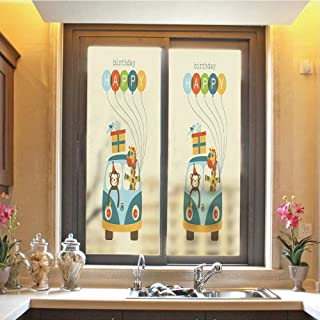 Birthday Decorations for Kids 3D No Glue Static Decorative Privacy Window Films, Blue Hippie Bus with Monkeys Giraffes Balloons Surprise Box,17.7