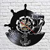 TeenieArt Brújula Naval De Barco Ancla Vinyl Record Wall Clock Unique Handmade Vintage Bedroom Wall Decoration Creative Gifts For Parents, Friends, Lovers and Children NO led
