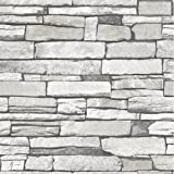 Natural Stacked Grey Stone Brick Pattern Vinyl Self-Adhesive Peel-Stick Wallpaper (19.6 X 118 inch)