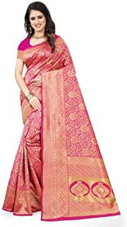 Freya Crafts Women s Banarasi Silk Saree (FC32PINK_Pink): Clothing & Accessories