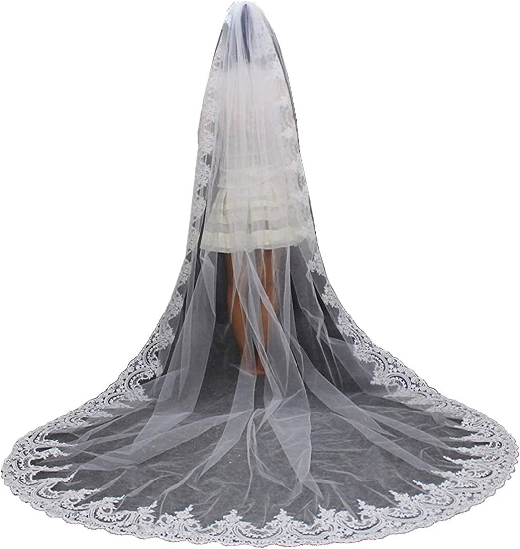 Lace Bridal Veil Cathedral Length with Sequins 1 Tier White Ivory 3M 4M 5M