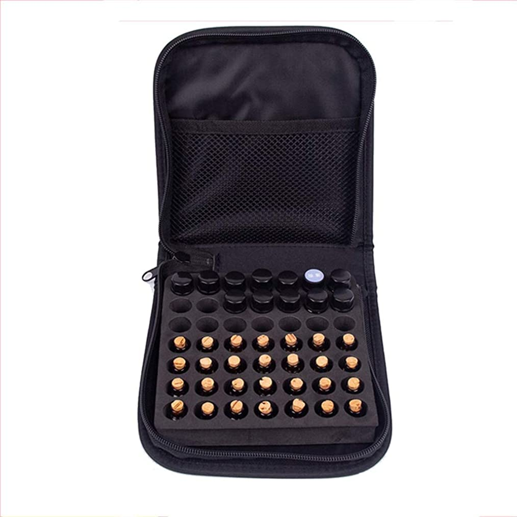 リアル哲学的戸棚49本のボトル用エッセンシャルオイルの収納ケース旅行エッセンシャルオイルキャリングケースは、2mlのバイアルを保持します 香水フレグランス (色 : ブラック, サイズ : 16.5X16.4X4CM)