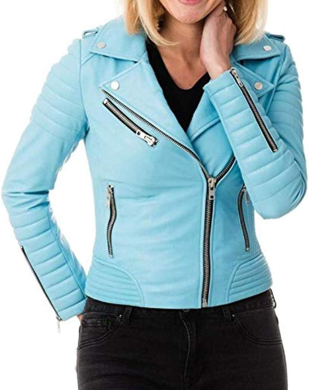 New Fashion Style Women's Leather Jackets bluee I33_