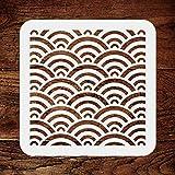 Stencil a forma di onde giapponesi, 35,5 x 35,5 cm, riutilizzabile, motivo: acqua di mare, orientale, cinese, orientale, orientale, orientale, da parete
