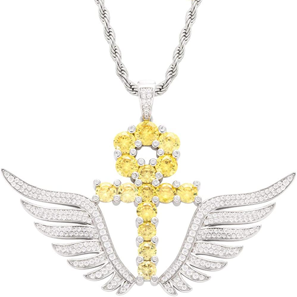 Egyptian Zircon Key Pendant Necklace Angled Wings Charm Hip Hop Rapper Jewelry Iced Out 60cm