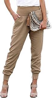 Womens Fashion Casual Drawstring Elastic Waist Jogging Jogger Pants with Pockets
