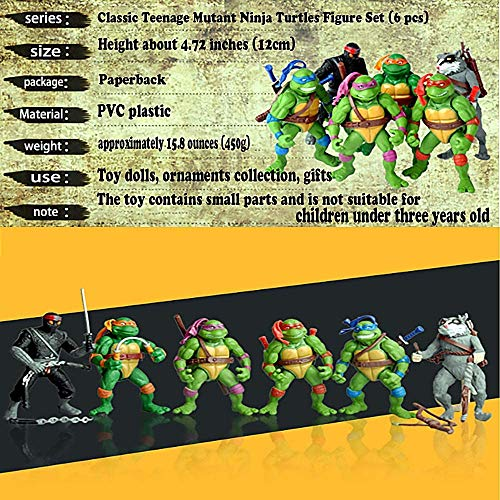 TMNT Ninja Turtles Action Figures - Ninja Turtles Toy Set - Ninja Turtles Action Figures Mutant Teenage 6 pcs Set 4.72 inch Leo Raph Mikey Don Splinter Casey