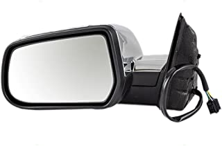 Drivers Power Side View Mirror Heated Memory w/Chrome Cover Replacement for 10-14 Chevrolet Equinox GMC Terrain 22818267