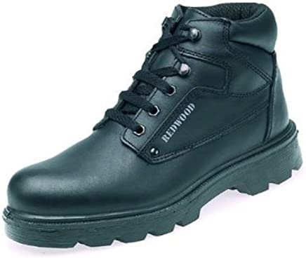 Redwood LH626 Unisex Black Grain Leather Hiker/Trekka Safety Boots With Steel Toe Caps (UK 5/EURO 38)