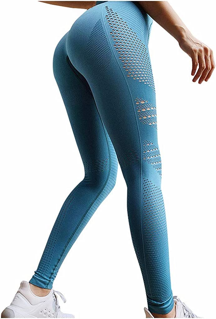 FUNEY Yoga Leggings for Women,High Waist Workout Capris Tummy Control Yoga Pants Breathable Quick-Drying Trousers