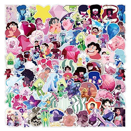 100 Stück Steven Universe Aufkleber Laptop Auto Scrapbook Telefon Skateboard Cartoon Anime Aufkleber Vinyl Wasserdicht Ästhetisch Personalisierte Aufkleber für Teens Jungen Mädchen Erwachsene Kinder