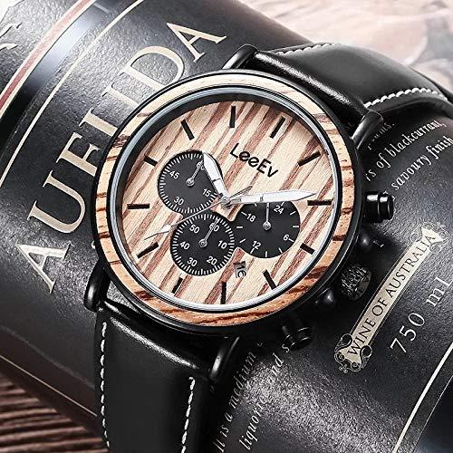 TCEPFS Holz Uhr für Männer Lederband Holz & Edelstahl Chronograph Quarz Armbanduhren