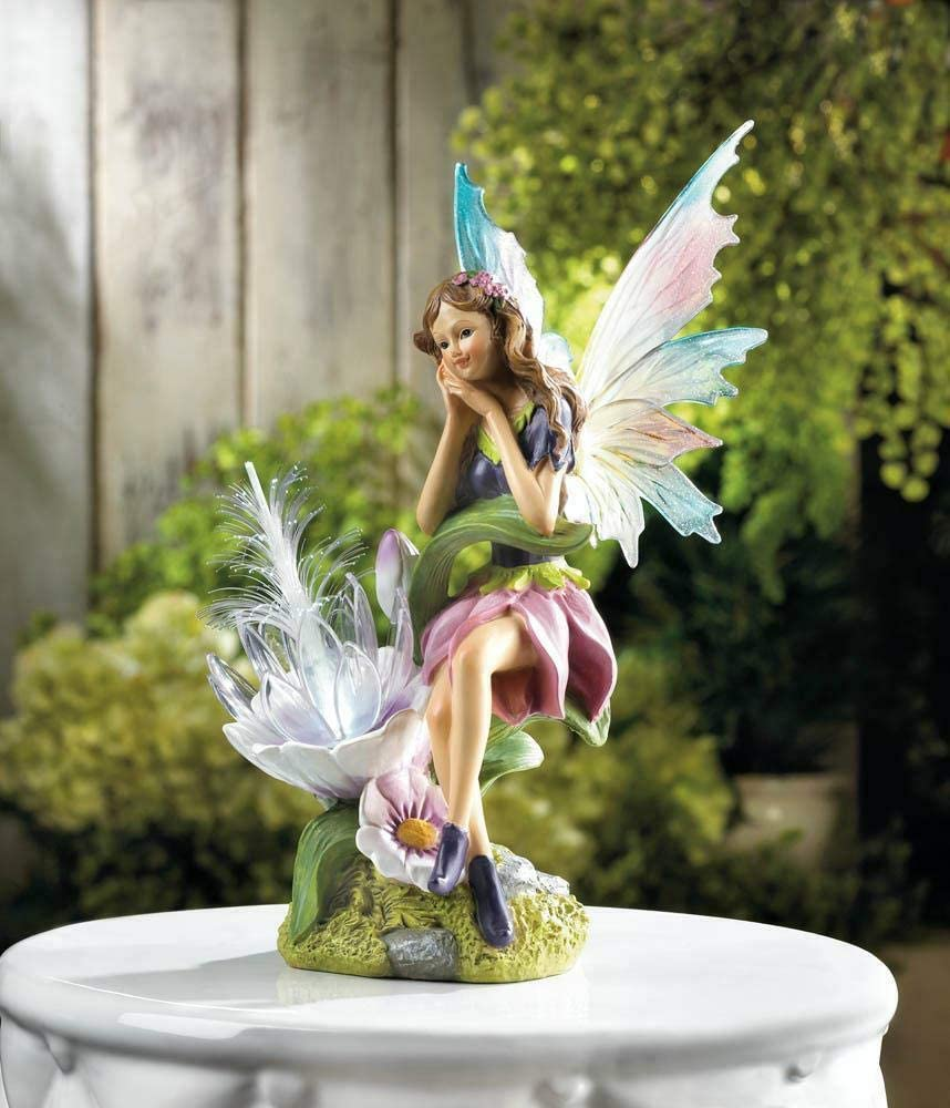 Pink Blue Dragon Nippon regular agency Ranking integrated 1st place Fairy Statue Solar Lantern Powered Path Outdoor