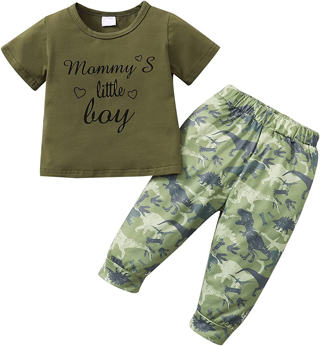 LAPA Baby Boy Clothes Set Infant Toddler Short Sleeve Tops and Pants Outfits Bodysuit Jumpsuit