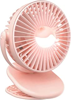 Rechargeable Clip Fan, Portable Fans, USB Desktop Fan, 3 Speed, Quiet Household Table Fans with light, Personal Suitable f...