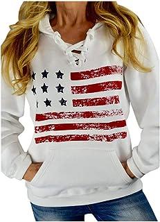 Pullover for Women, Womens Autumn Flag Printed Long Sleeve Patchwork Velvet Sweatshirt Tops Blouse E-Scenery