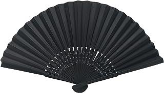 OLILLY Eventails Noirs de Qualité en Tissu et Bambou Noir (50 Eventails)