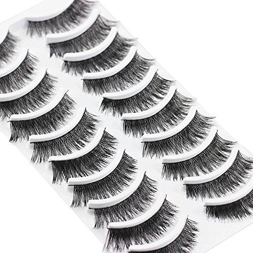 HAOHAG Faux Cils Naturel 3D, 10 Paires Cils Colle Naturelle Professionnel Cils Noir Pour Femme Maquillage