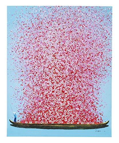 Kare Design Bild Touched Flower Boat Blau Pink,100x80cm, XL Leinwandbild auf Keilrahmen, Wanddekoration mit Boot und Blumen, Blau-Rosa (HxB) 100x80cm