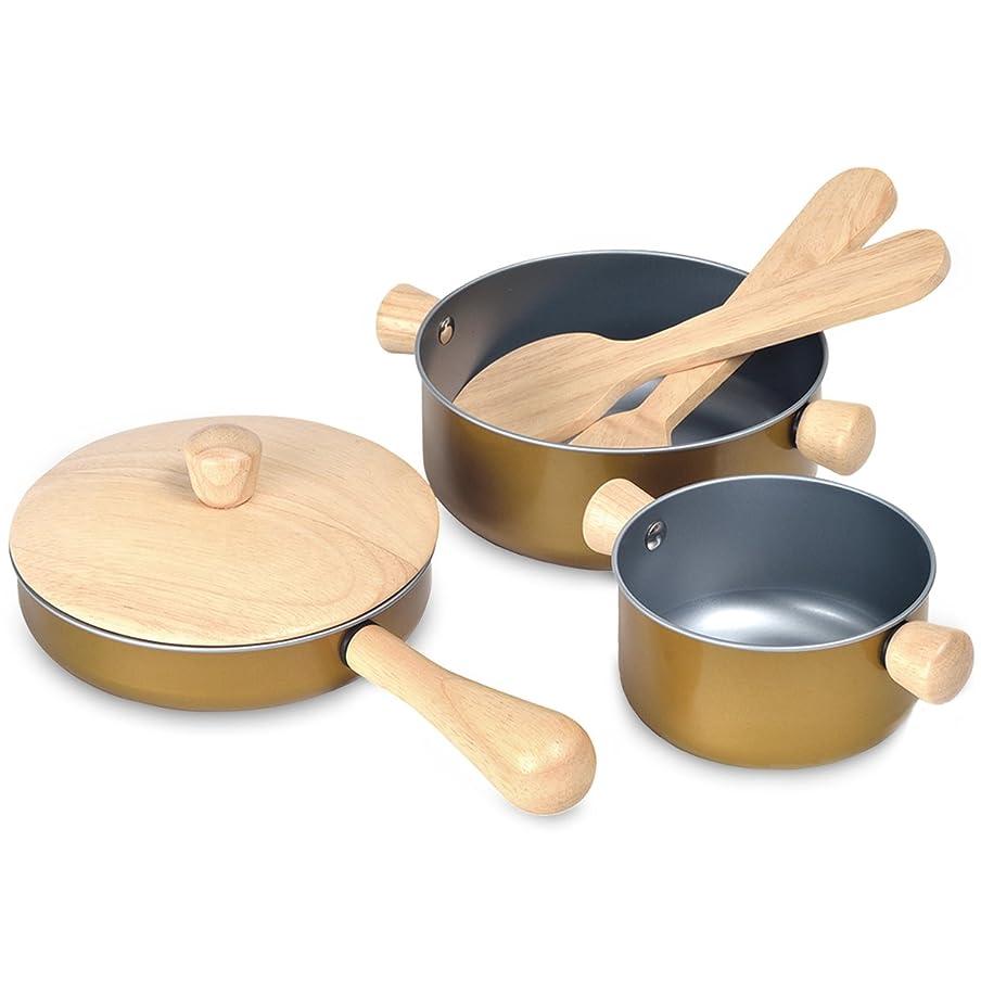 派手賢い非効率的なプラントイ 木製おままごとセット 調理用具セット 安全安心 鍋 フライパン クッキングセット