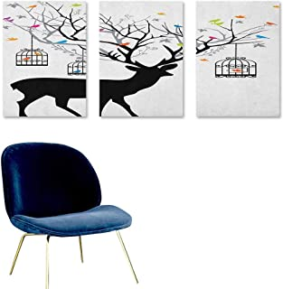 Agoza Antlers Custom Oil Painting Deer with Colorful Birds and Birdcages Silhouette Ornament Vintage Style Print Easy Care Oil Painting 3 Panels 16x24inch Multicolor