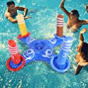 Inflatable Cross Ring Toss Water Floating Pool Game with 4 Rings and Pump