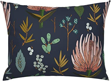 Roostery Pillow Sham, Floral Protea Leaf Botanical Nature Natural Print, 100% Cotton Sateen 26in x 20in Knife-Edge Sham