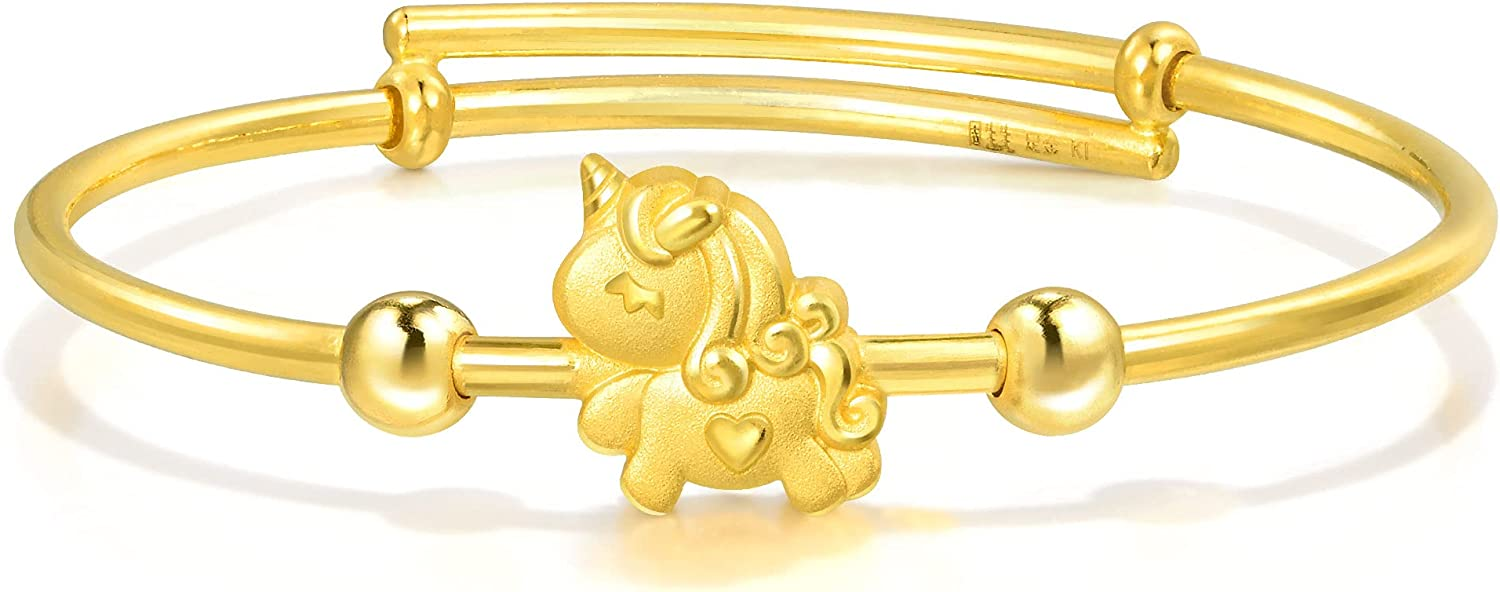 Chow Sang Sang 999.9 24K Solid Gold Price-by-Weight 7.86g Gold Unicorn Baby Bangle 90888K