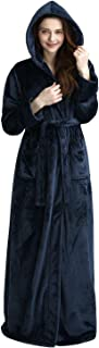 Womens Mens Luxurious Full Length Hooded Plush Fleece Robe Long Bathrobe Night Dress Thick