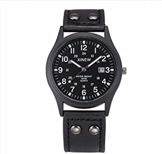 Leather Band Men Watch, Zulmaliu Military Sports Vintage Classic Date Quartz Army Watch (Black)