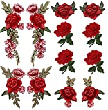 Comfun 12 Pack Sew On Red Rose Flower Patch Badge Embroidered Floral Applique Decorative Patches