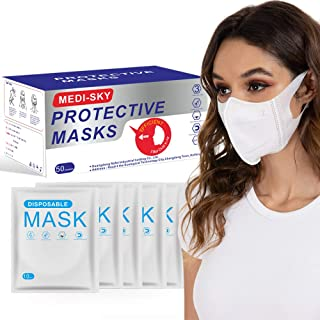 Sponsored Ad - 3D Disposable Mask for Adults, Elastic Cloth Ear Straps Breathable Face Mask Individual Package 50pcs White