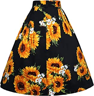 JUSSON Women's Skirt Printed Pleated Skirt Midi Skirt Cotton Fabric-sunflower