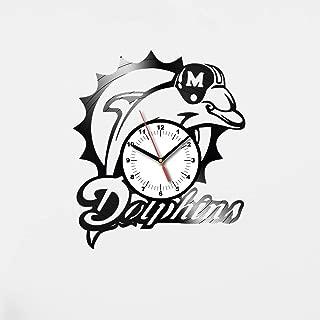 HandmadeBySA Miami Dolphins Vinyl Wall Clock Miami Dolphins Wall Art Miami Dolphins Vinyl Wall Clock for Movie Fan 20 Kitchen Wall Clock for Bedroom Miami Dolphins Gift for Fan Original Idea 32