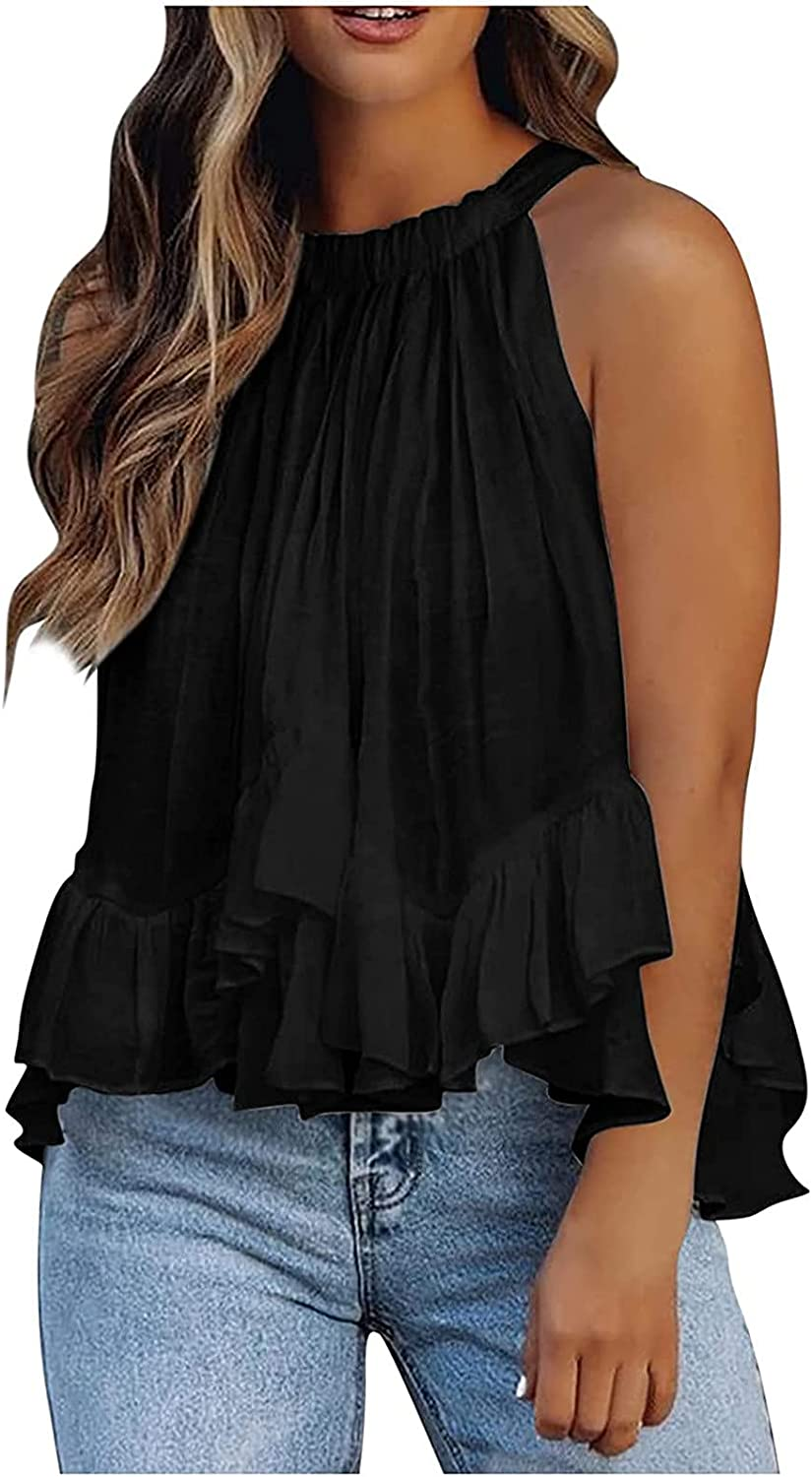 Women's Sleeveless Casual Shirt Summer Halter Neck Tank Tops Pleated Solid Color Camisole Cute Tee Tops